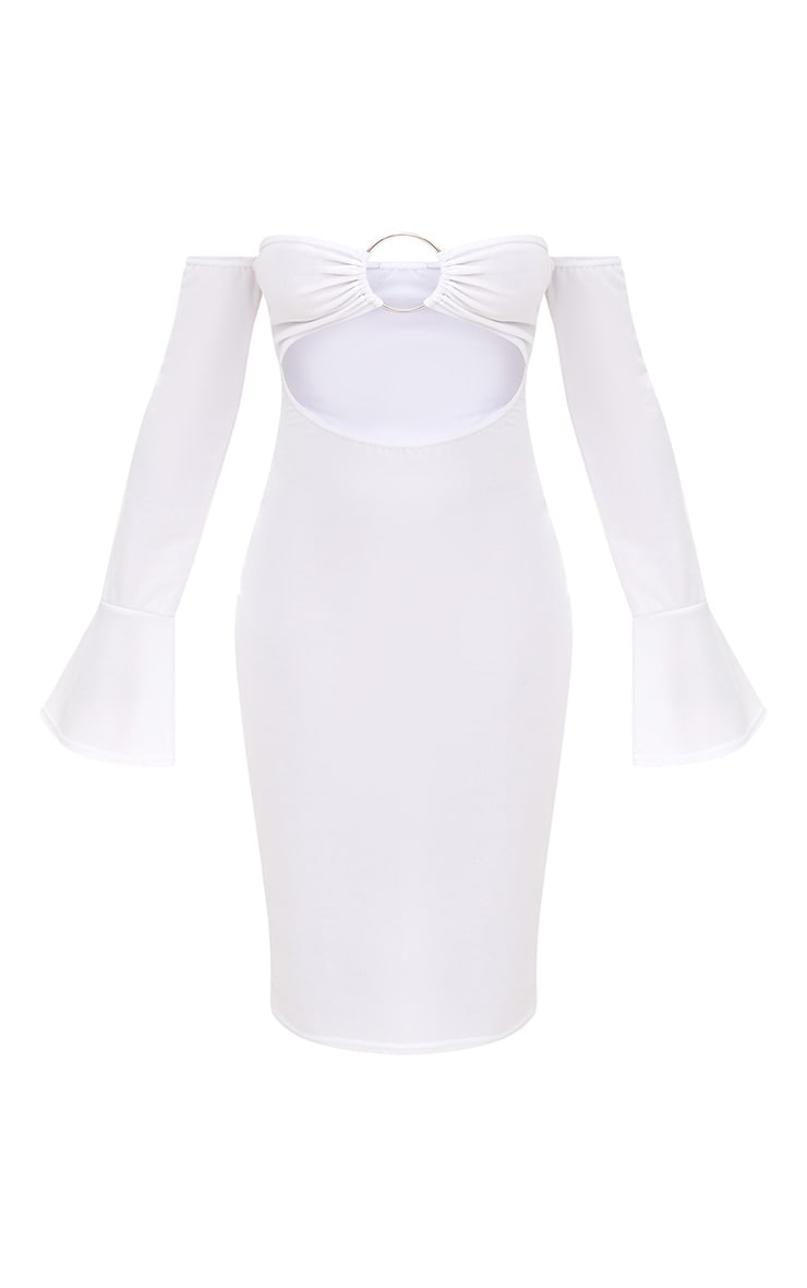 White O-Ring Cut Out Bell Sleeve Midi Dress 3