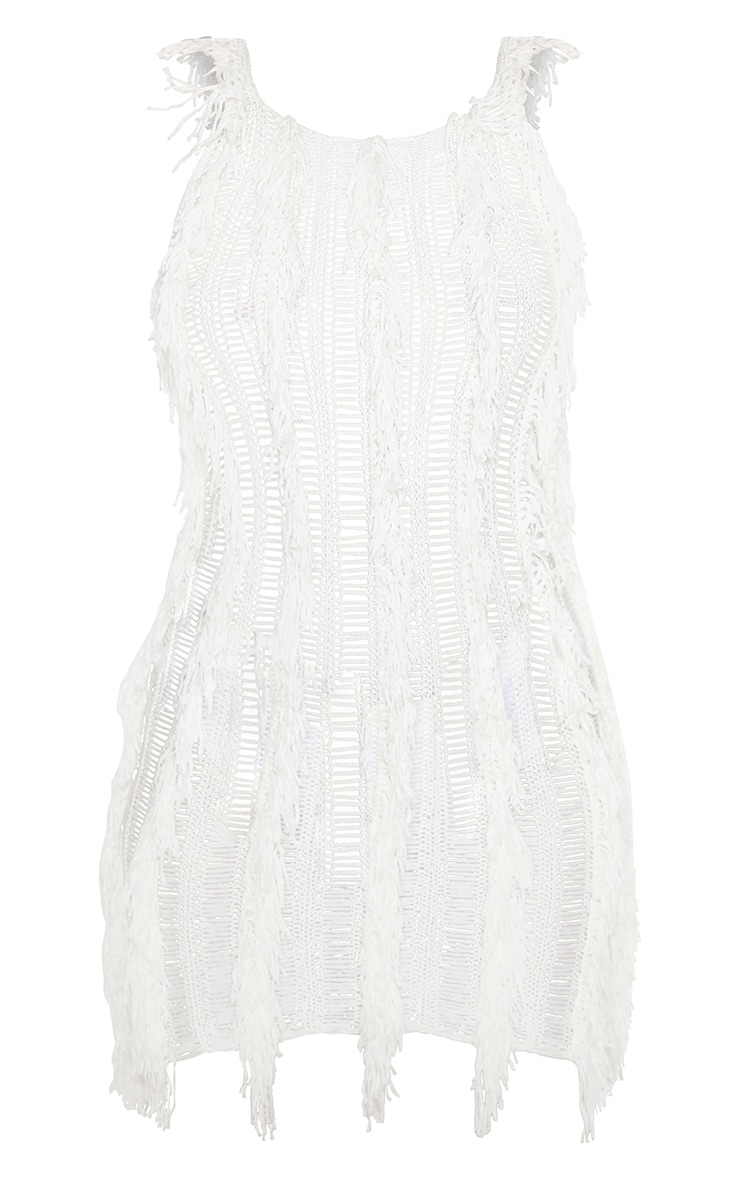 Cream Fringe Detail Knitted Dress 3