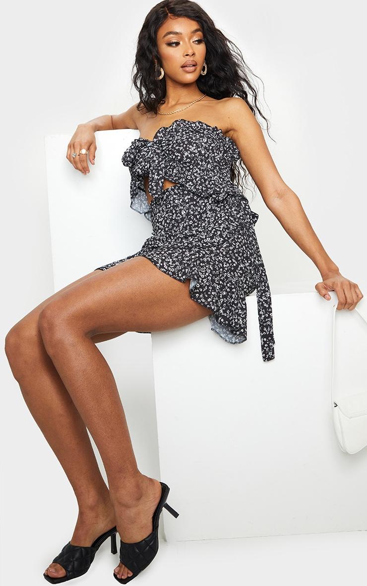 Black Ditsy Print Frill Edge Tie Front Mini Skirt 1