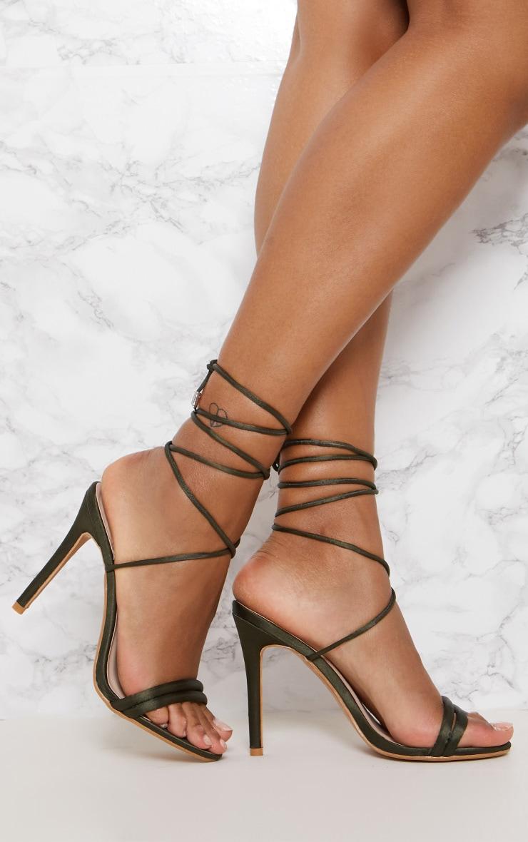 Khaki Strappy Leg Tie Heeled Sandal 1