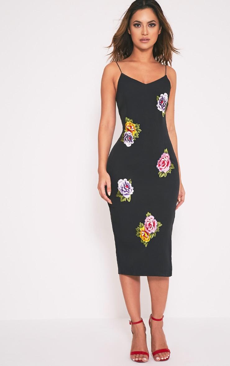 Fiana Black Floral Embroidered Strappy Midi Dress 5