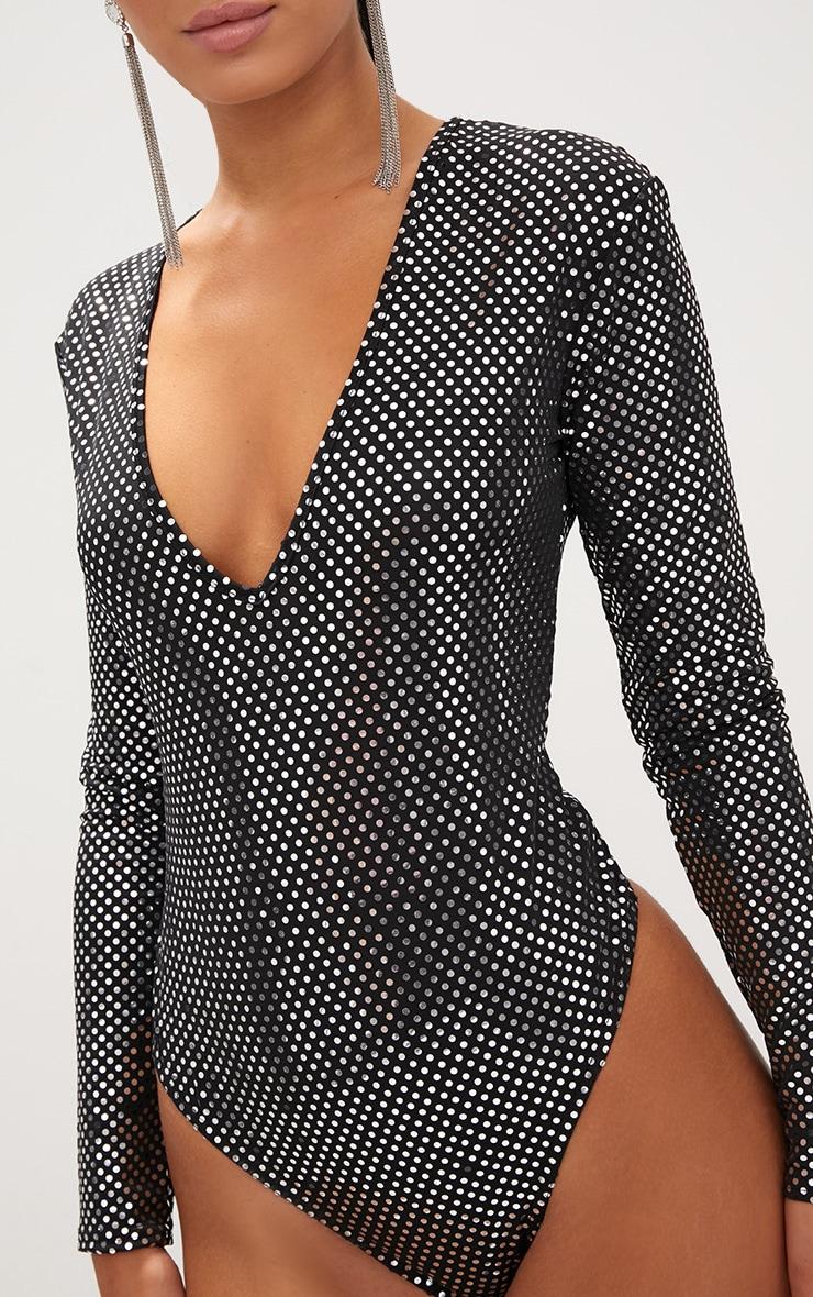 Black Disco Sparkle V Neck Thong Bodysuit 6