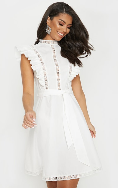 d220c0a30a White Frill Sleeve Binding Detail Skater Dress
