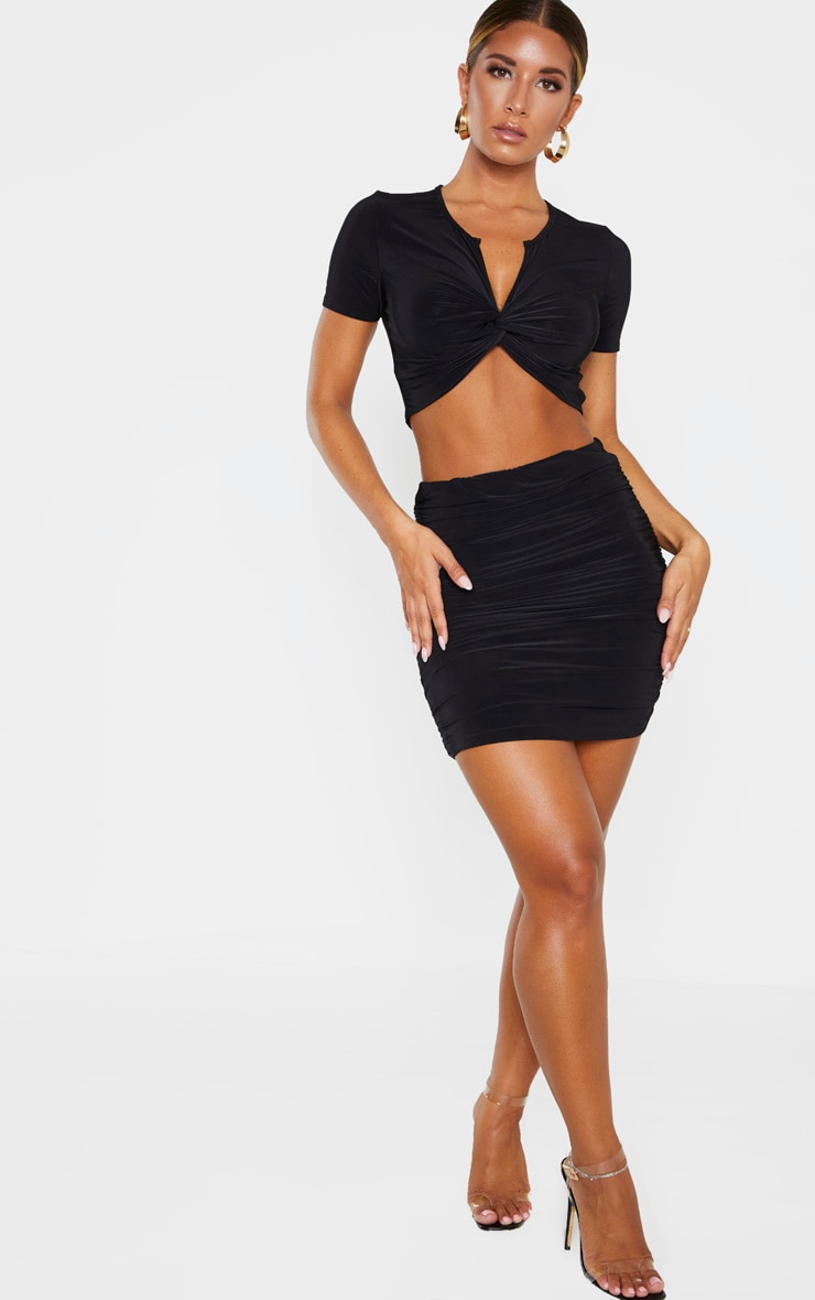 Black Slinky Ruched Mini Skirt 1