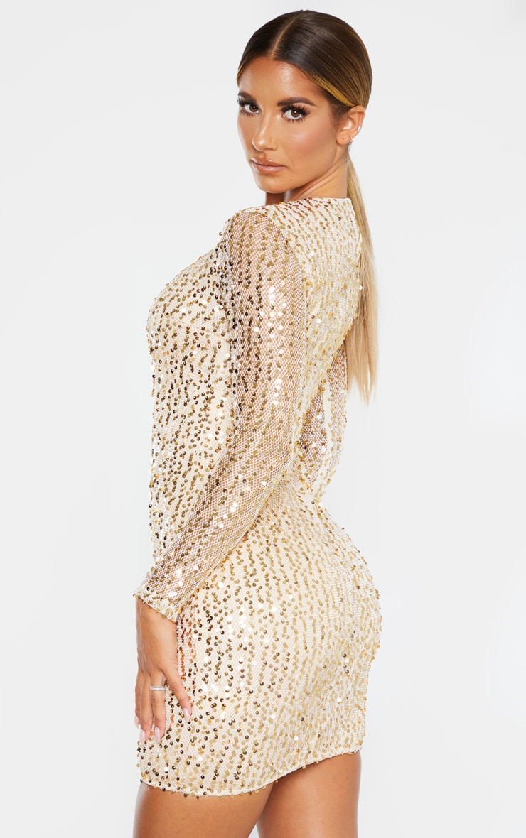 Gold Sequin Long Sleeved Bodycon Dress 2