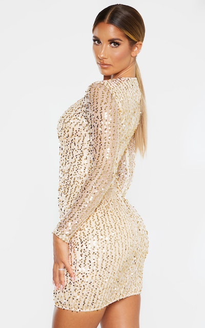 Gold Sequin Long Sleeved Bodycon Dress