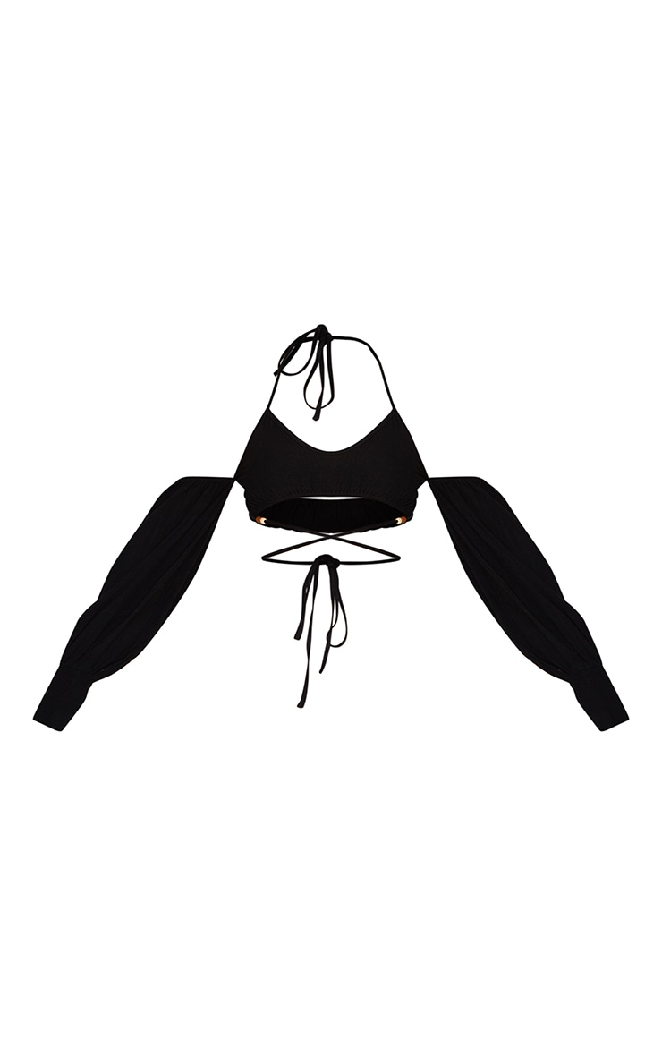 Black Linen Look Bardot Oversized Sleeve Halter Crop Top 5