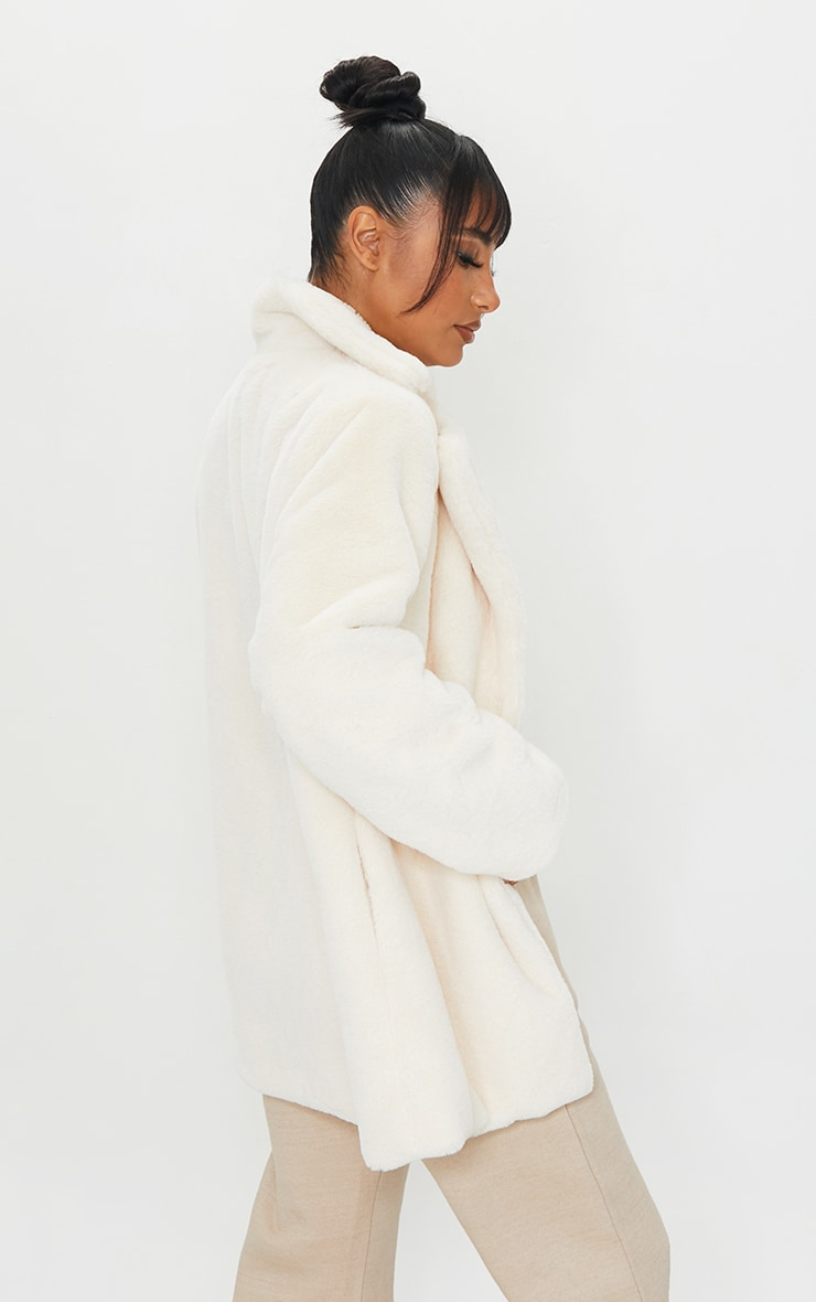Cream Soft Faux Fur Coat 2