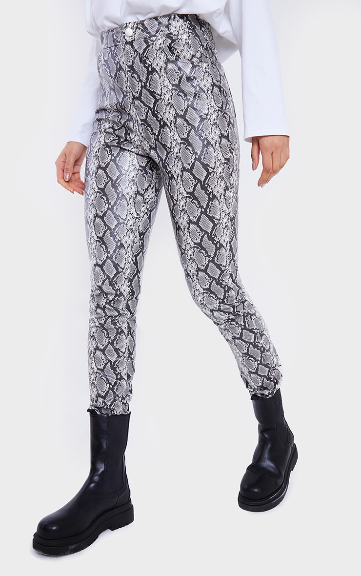 Grey Snake Faux Leather Skinny Trousers 2