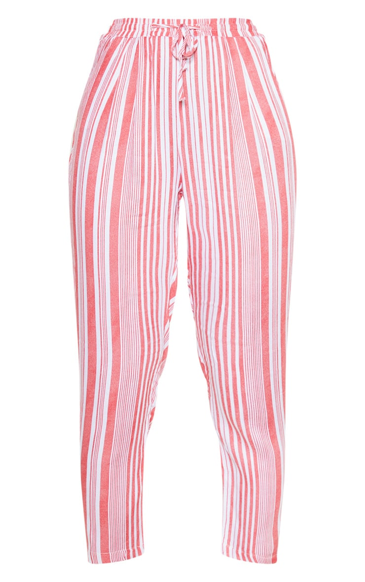 Red Stripe Printed Casual Trousers 3