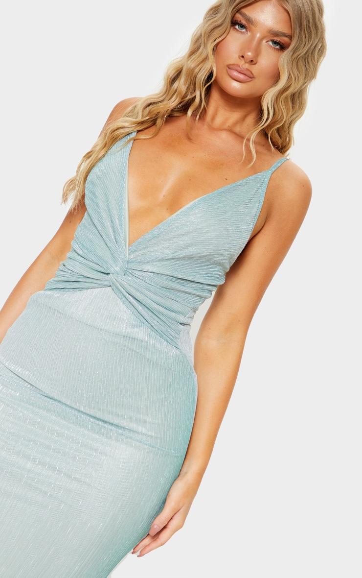 Mint Metallic Plisse Knot Front Strappy Midi Dress  5