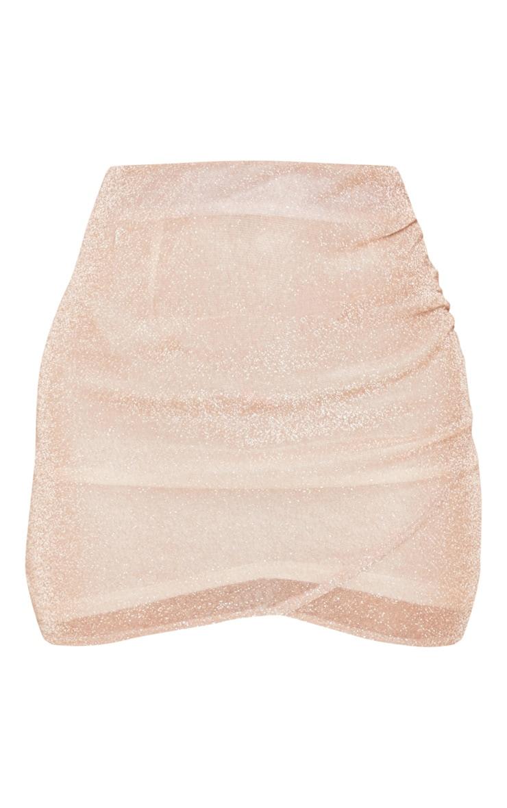 Rose Gold Ruched Metallic Mini Skirt 3