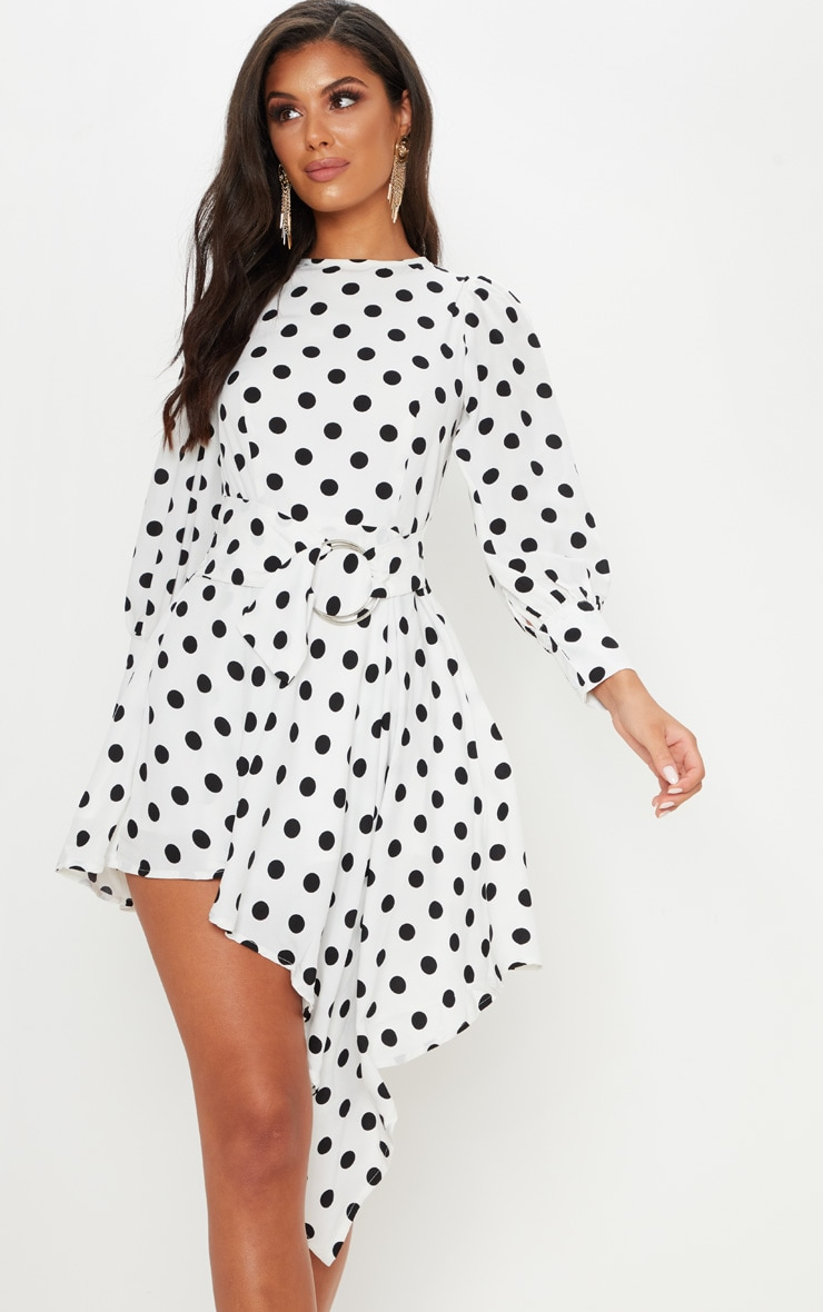 cf597e87596 White Polka Dot Balloon Sleeve Belted Asymmetric Skater Dress image 1