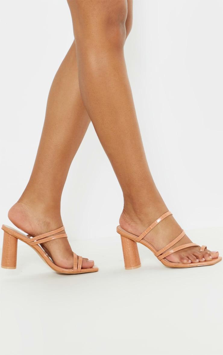 Nude Round Block Heel Mule Strappy Sandal 1