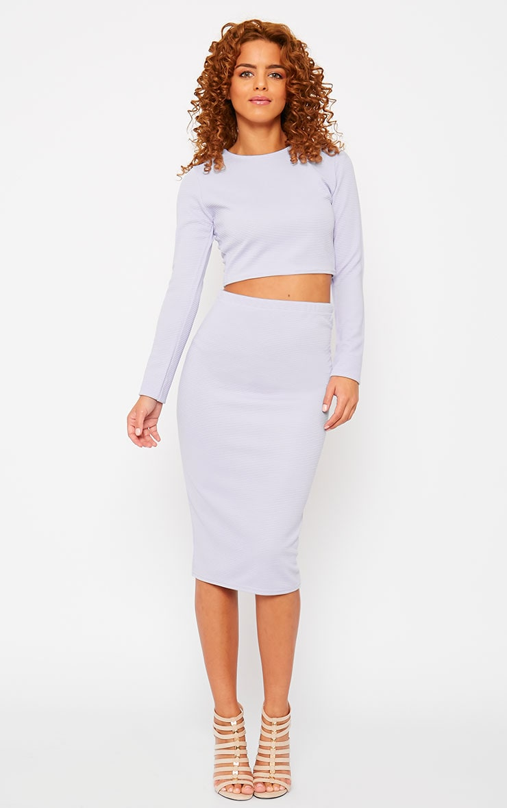 Britney Lilac Ribbed Midi Skirt 1