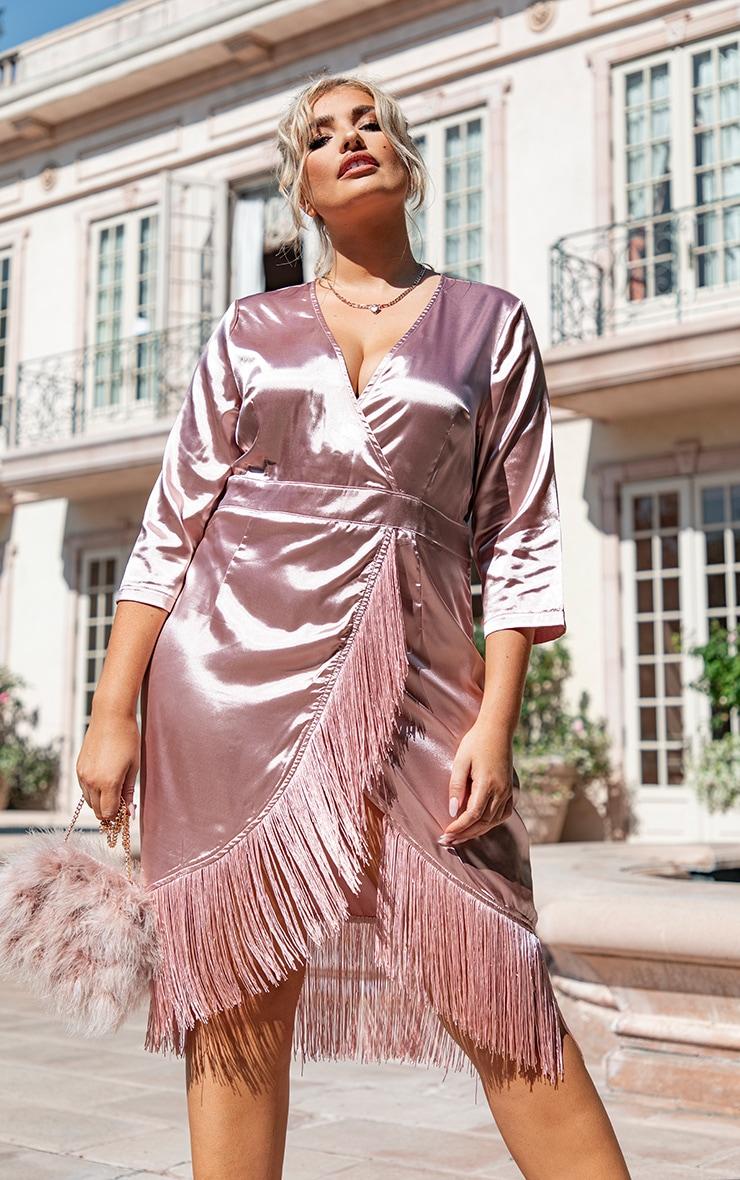 Plus Dusty Pink Satin Wrap Tassel Hem Midi Dress 1