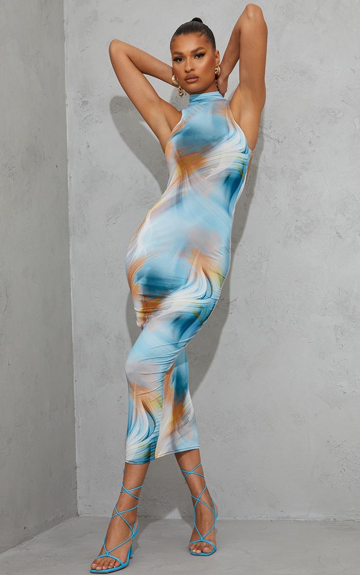 Blue Abstract Print High Neck Open Back Sleeveless Midaxi Dress 2