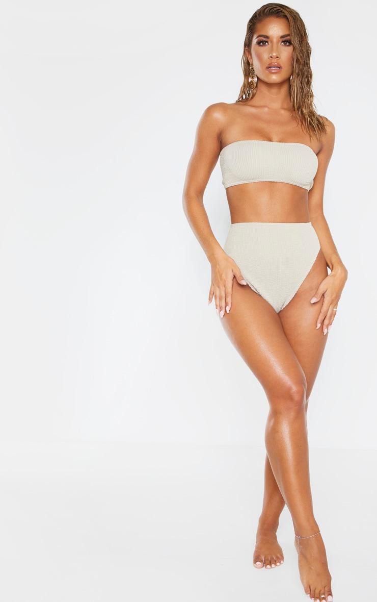 Taupe Crinkle Bandeau Bikini Top 4