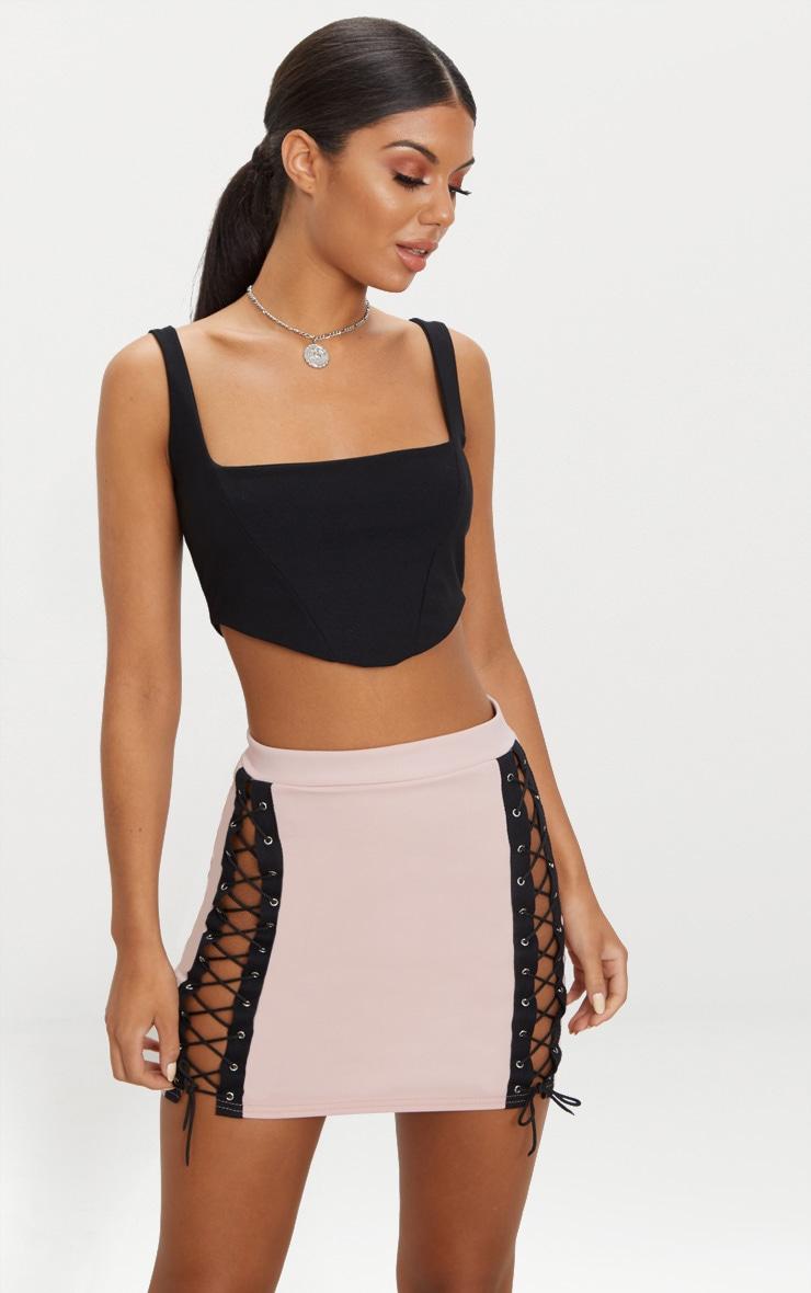 Blush Lace Up Front Mini Skirt 1