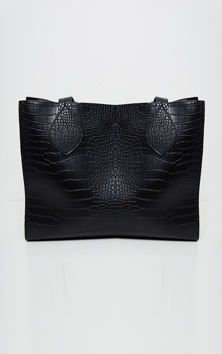 Black Croc Large Tote Bag 2