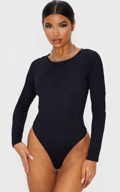 Black Rib Cut Out Back Bodysuit