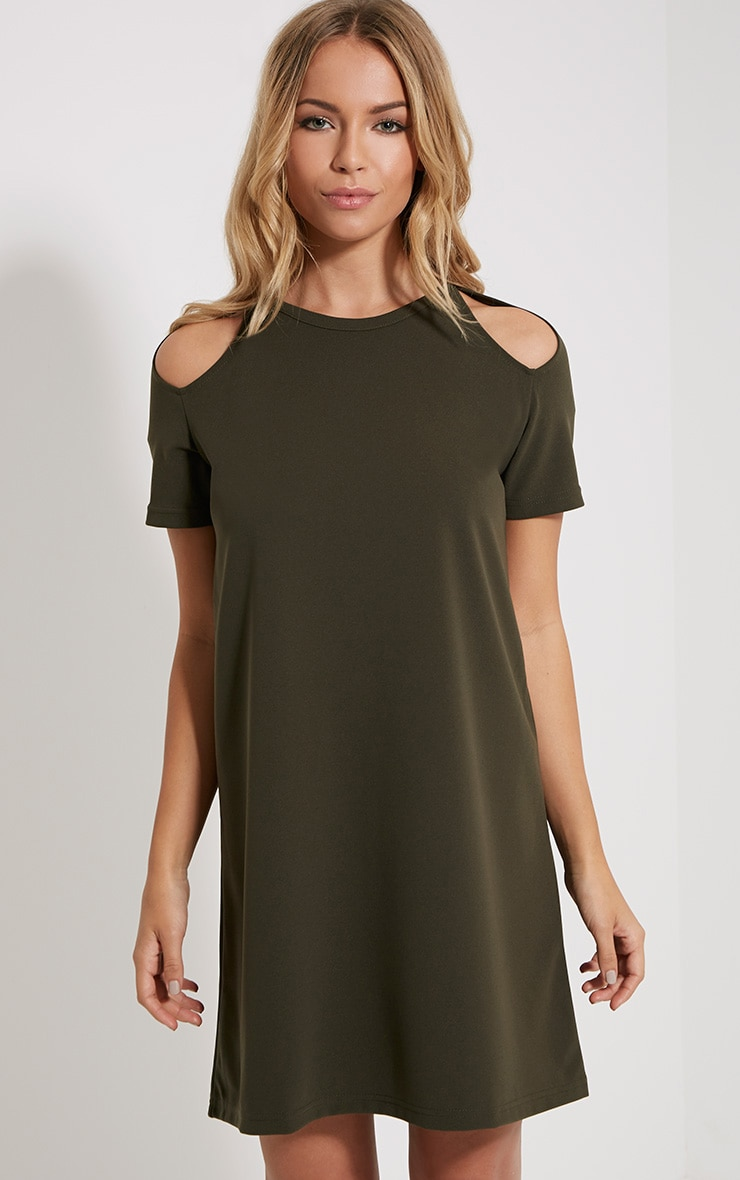 Sandie Khaki Cold Shoulder Shift Dress 1