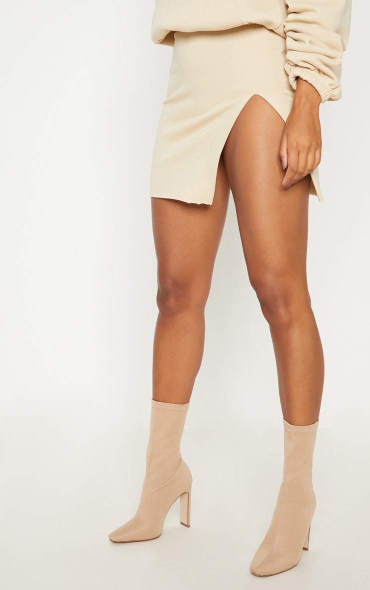 Cream Split Sweat Detail Mini Skirt 2