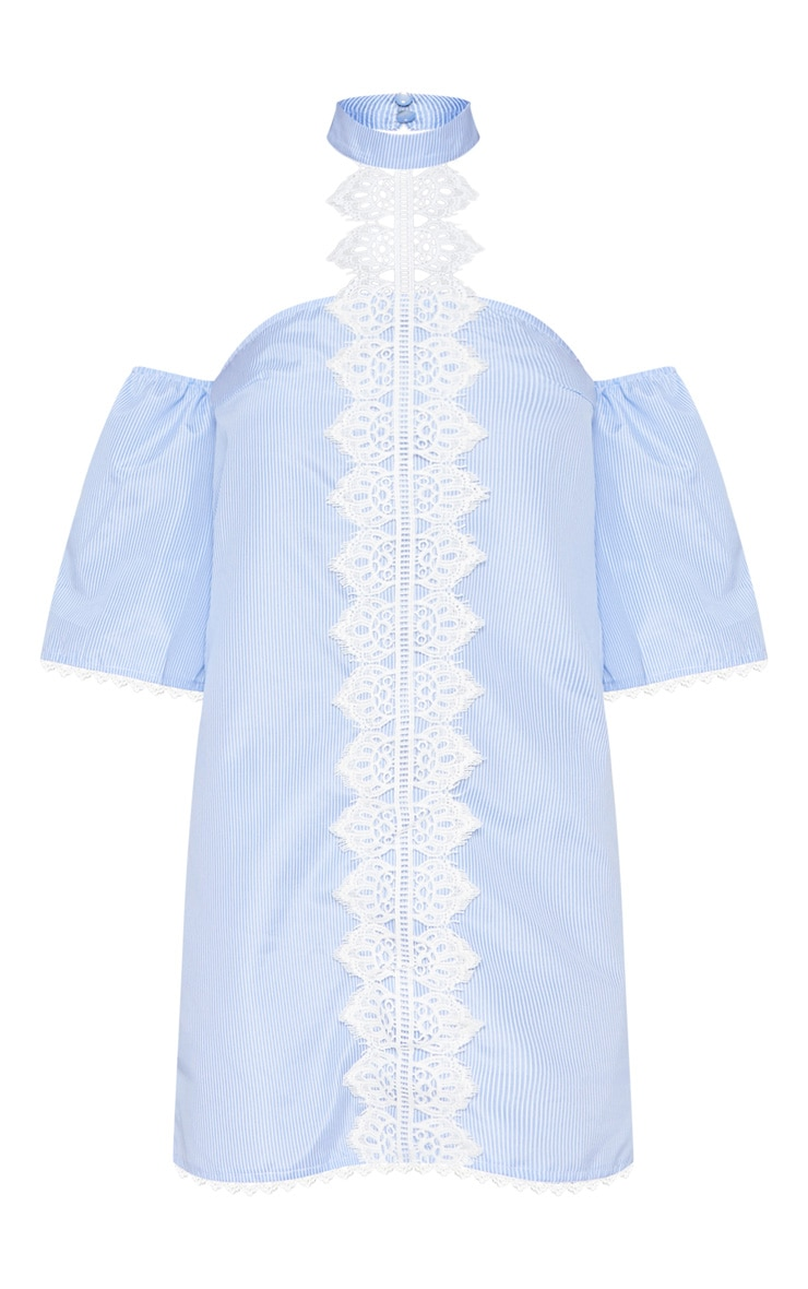 Blue Stripe Lace Trim Shift Dress 3