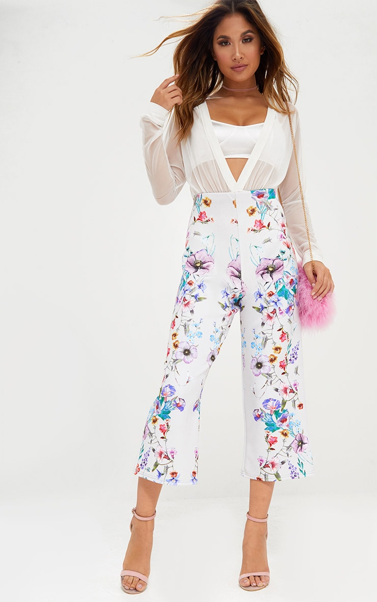 Grey Floral Placement Print Culottes 1