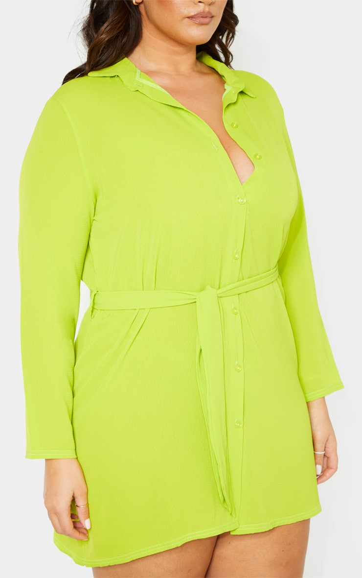 Plus Neon Lime Tie Waist Shirt Dress 5