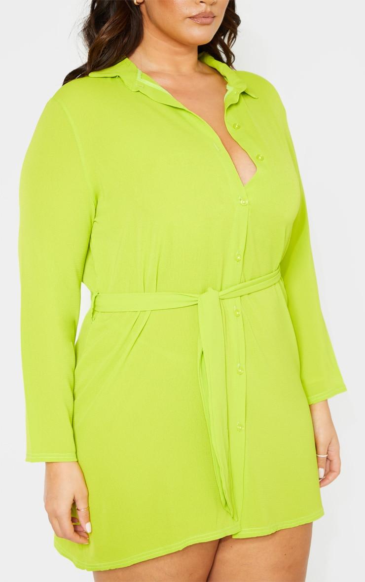 PLT Plus - Robe chemise vert citron à lien sur la taille 5