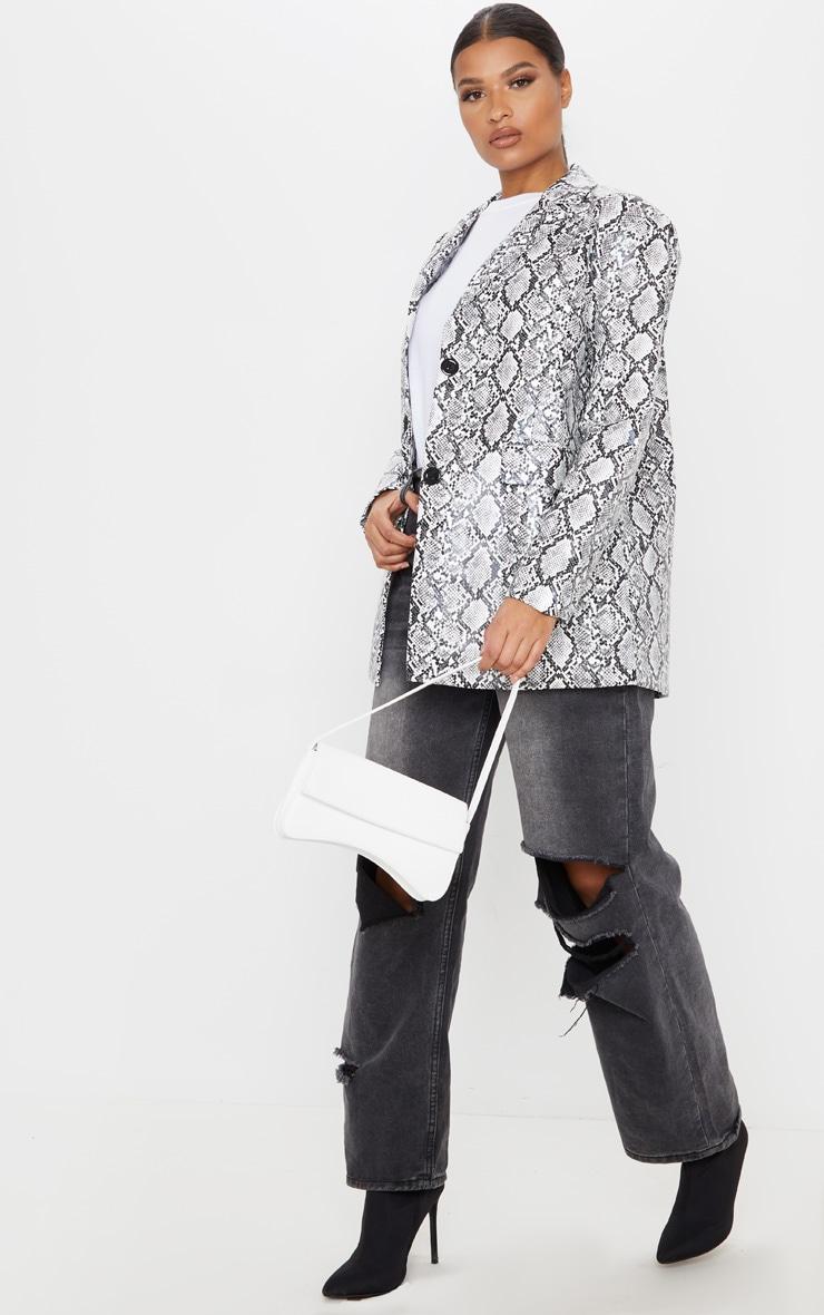 Grey Snake Faux Leather Oversized Dad Blazer 4
