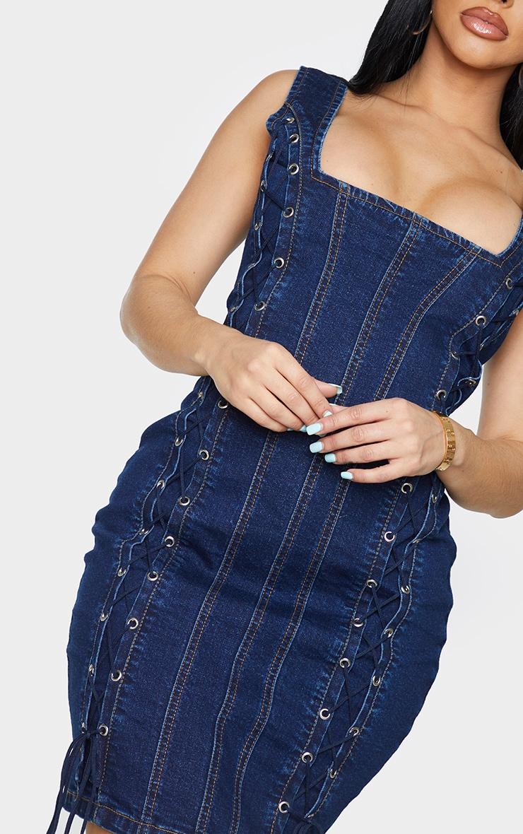 Shape Mid Blue Wash Lace Up Detail Square Neck Denim Bodycon Dress 4