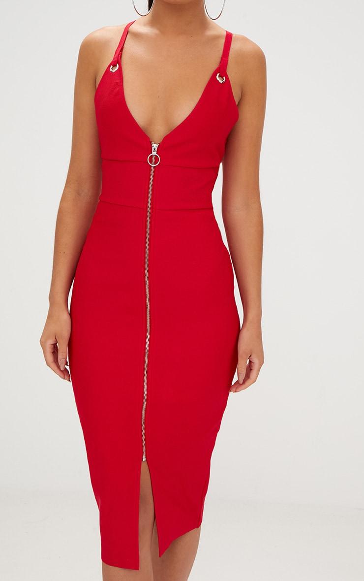 Red Bandage Strappy O Ring Midi Dress  5