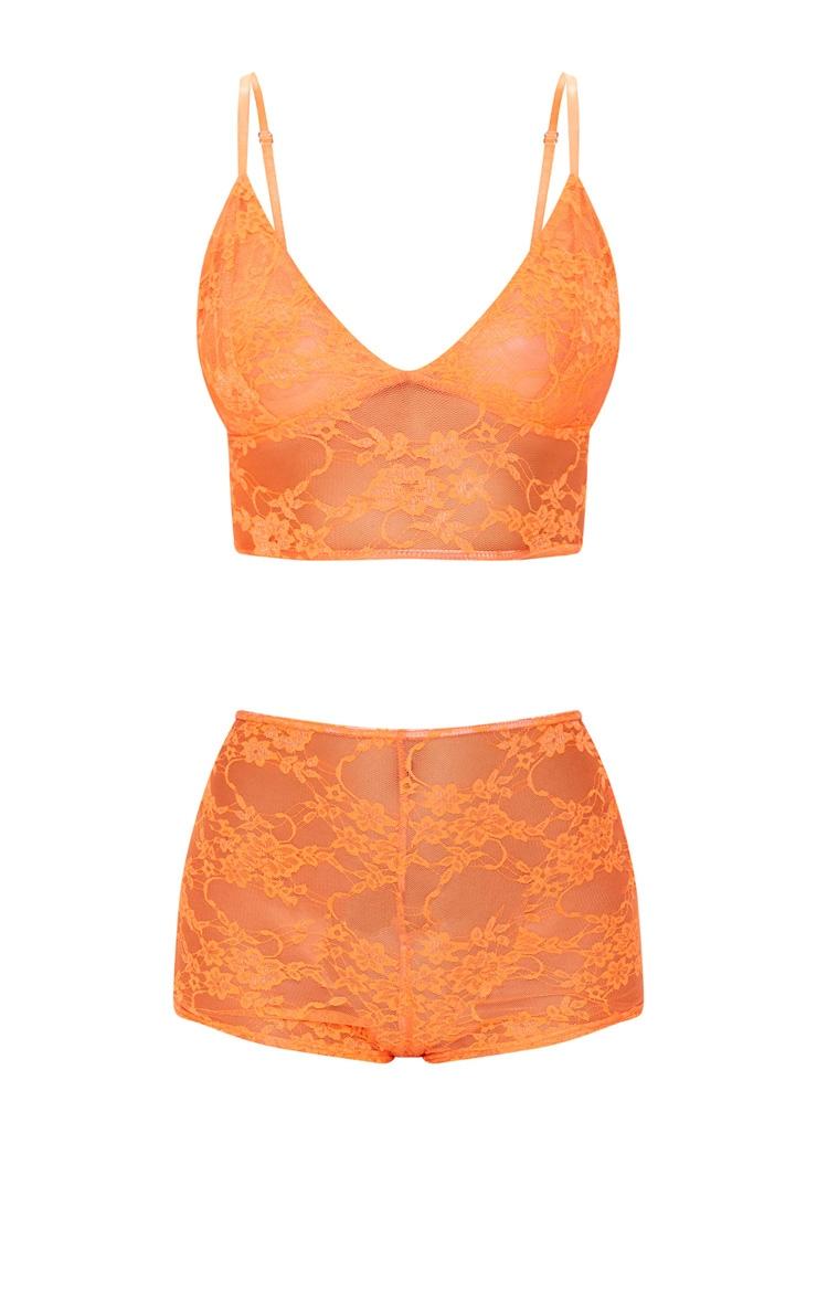 Neon Orange Lace PJ Set 3