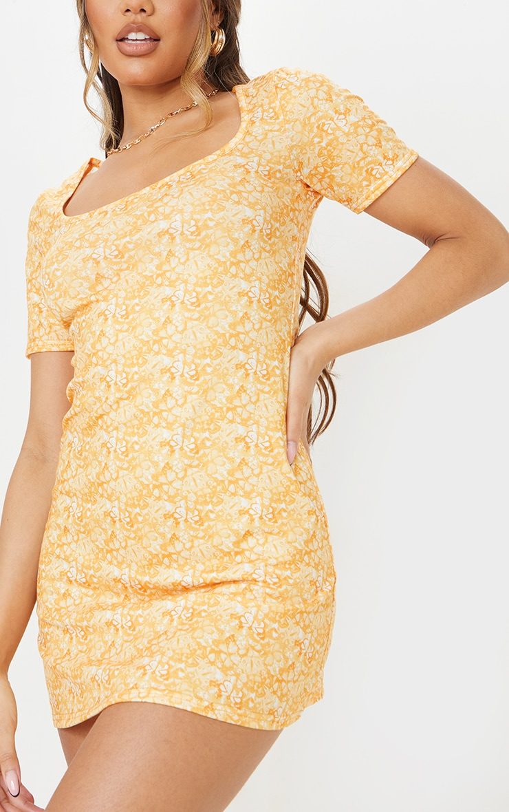 Yellow Butterfly Print Square Neck Shift Dress 4
