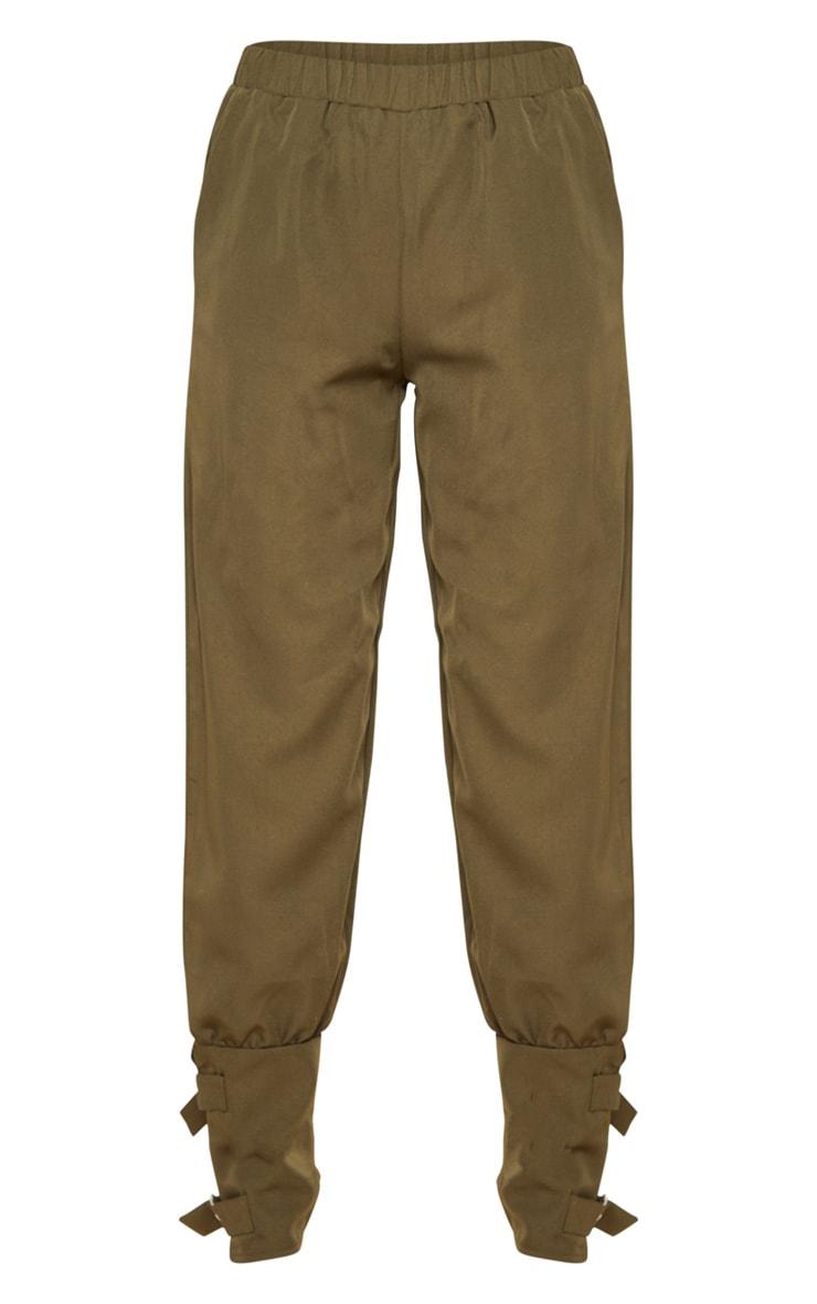 Khaki Buckle Cuffed Cargo Pants 3