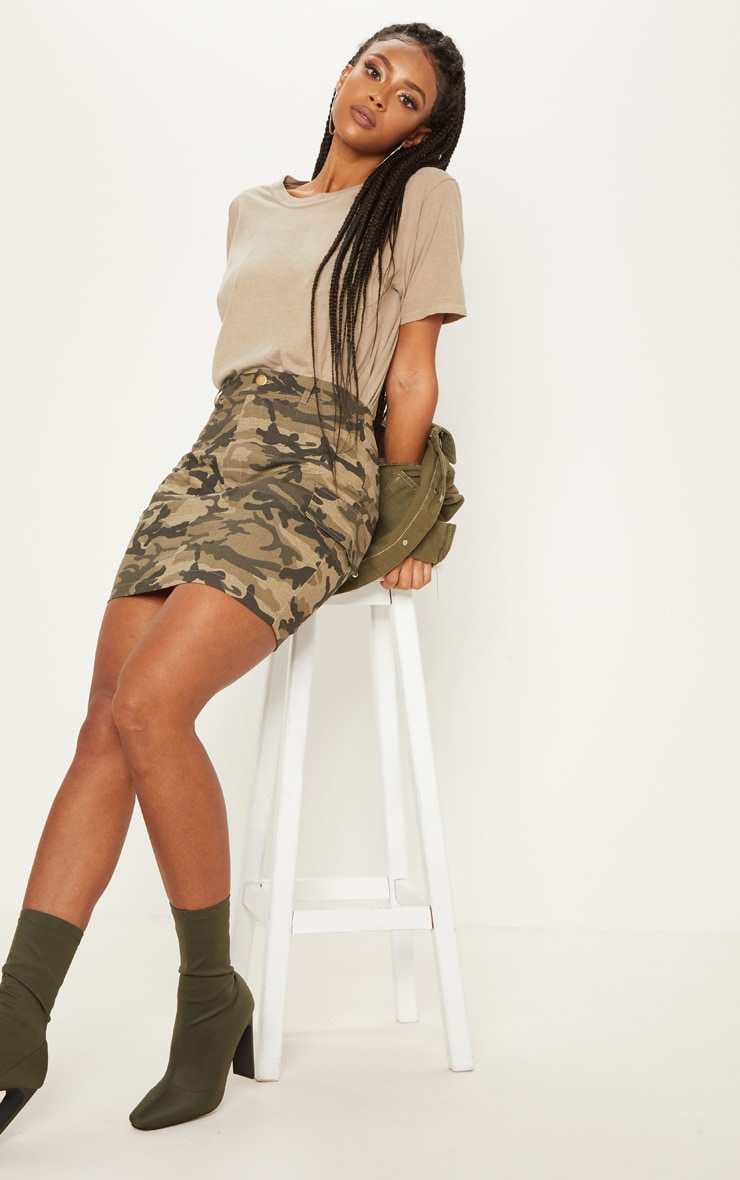 Green Cargo Camo Mini Skirt