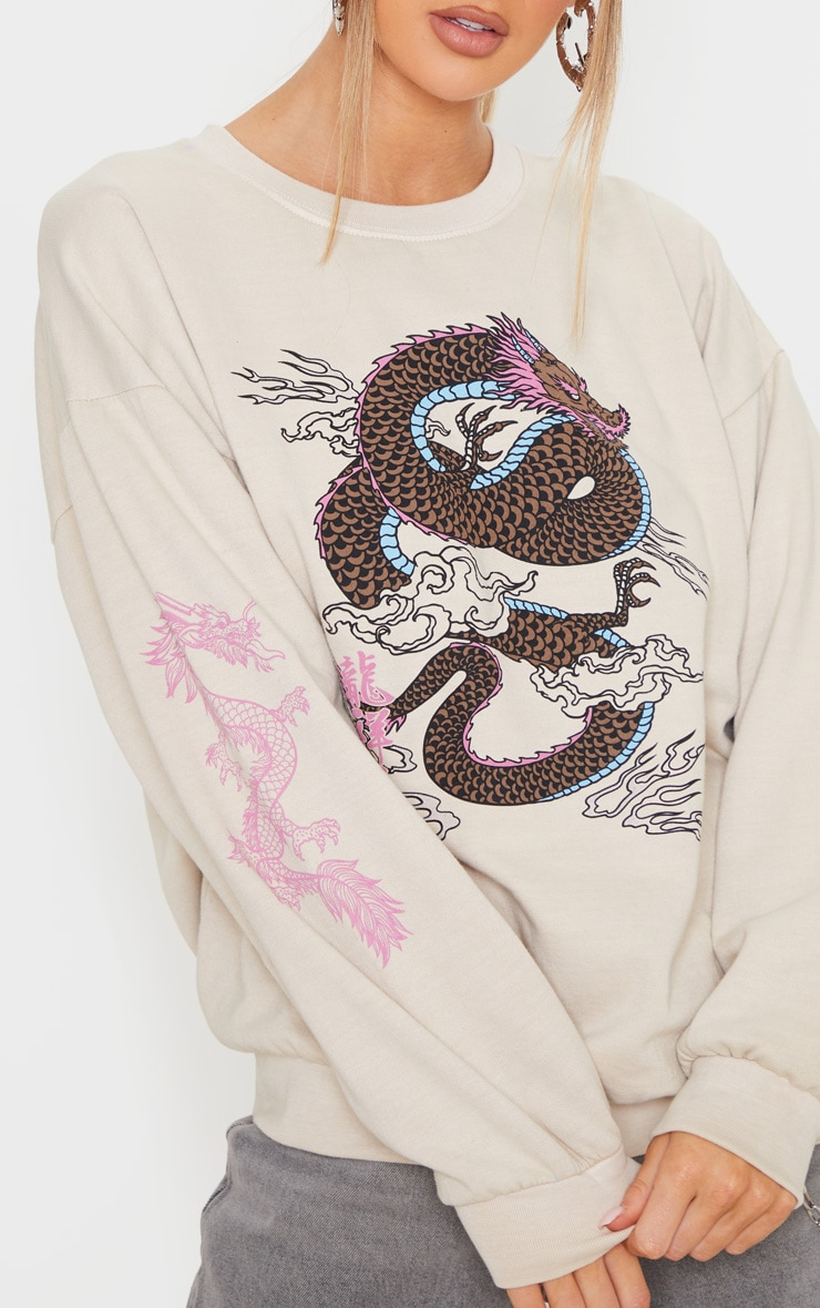 Sand Dragon Print Washed Long Sleeve Sweater 5