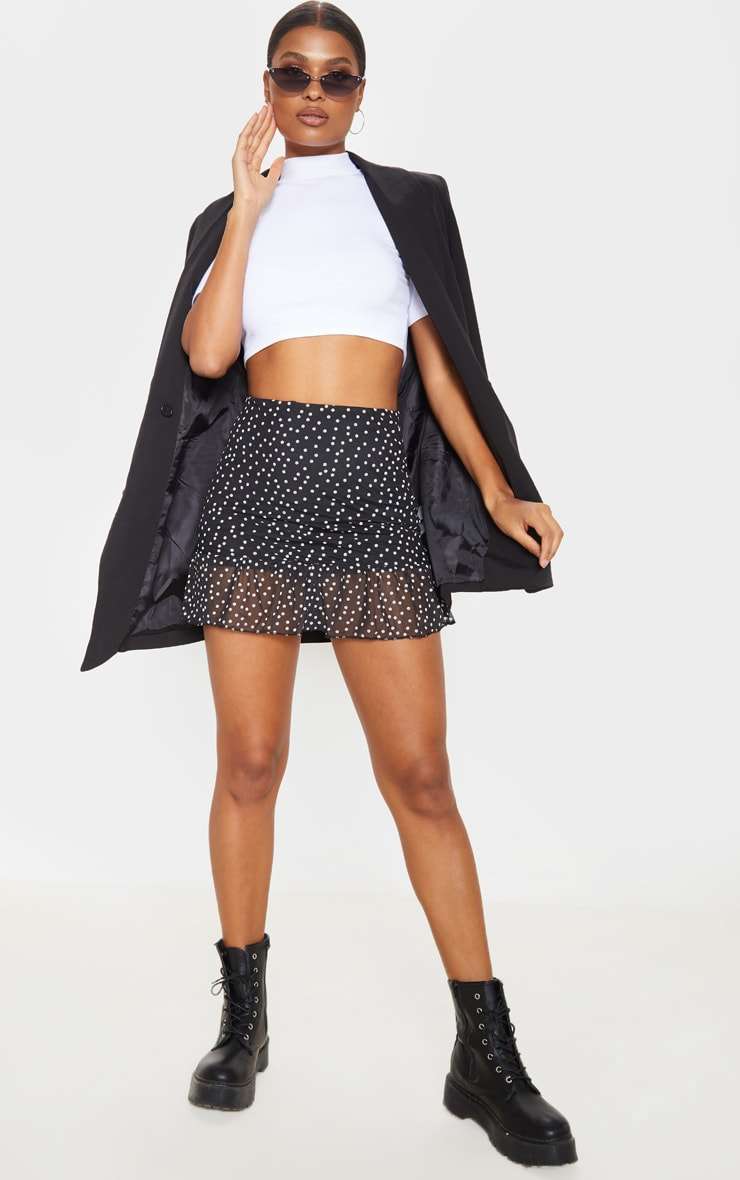Black Polkadot Mesh Frill Hem Mini Skirt  1