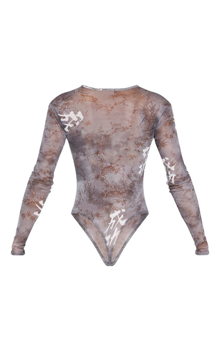 Grey Mesh Long Sleeve Bodysuit 4