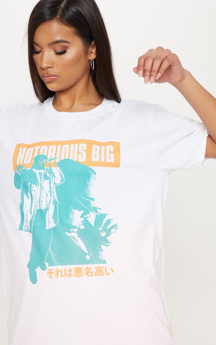 White The Notorious B.I.G Mic Printed T shirt 5