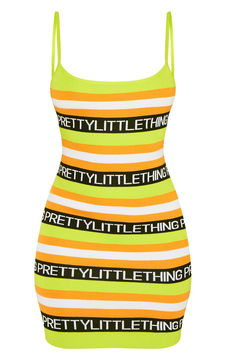 PRETTYLITTLETHING Lime Knitted Dress 3