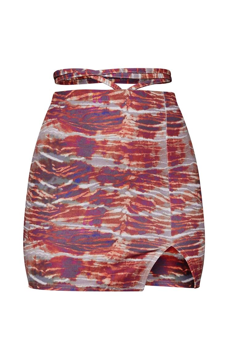 Pink Tiger Tie Waist Split Hem Mini Skirt 6