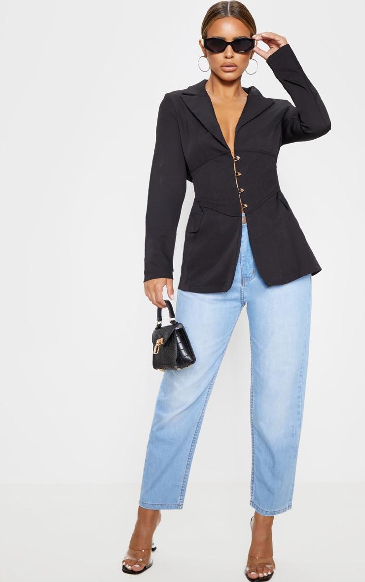 Petite Black Corset Woven Blazer 4