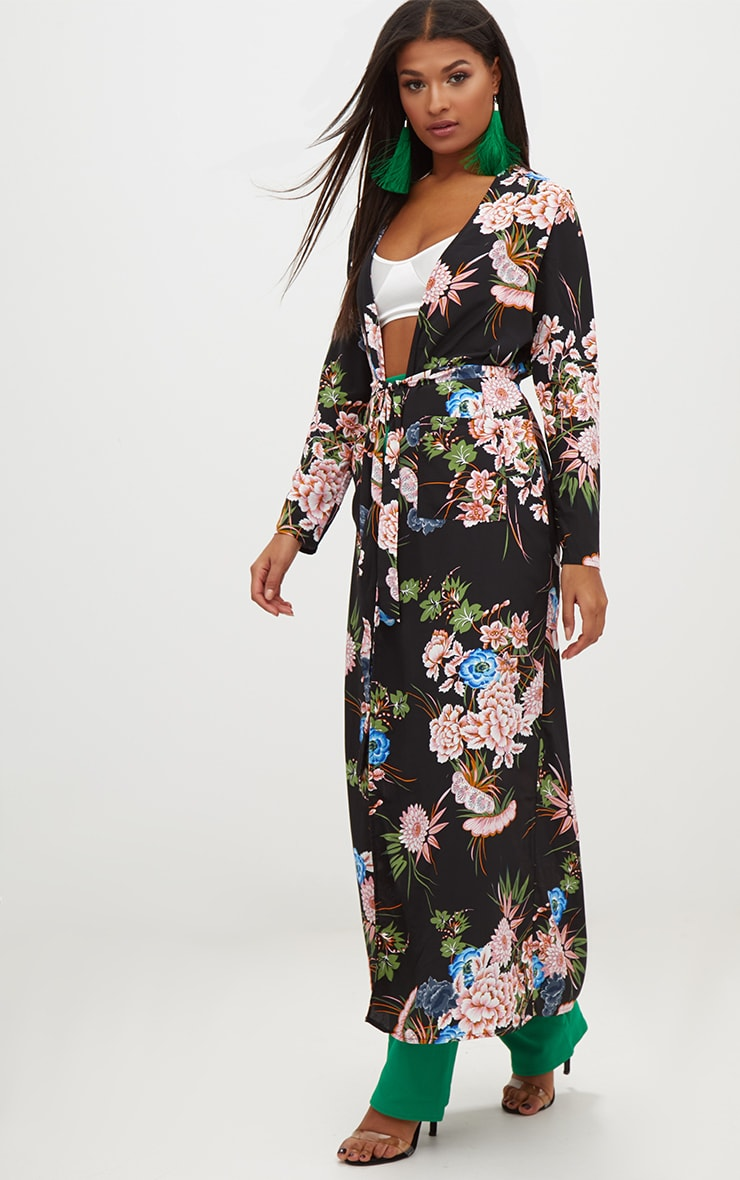Black Floral Maxi Duster 4