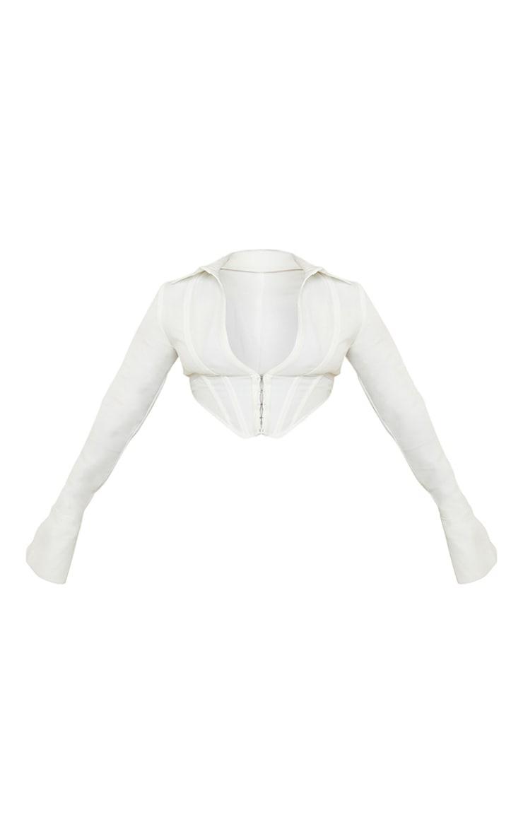 Plus White Collar Long Sleeve Corset 5