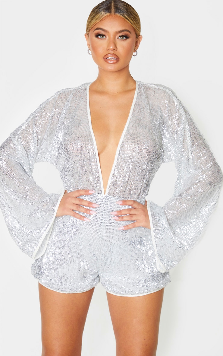 Silver Sequin Balloon Long Sleeve Playsuit 1