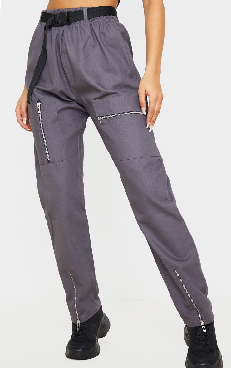 Charcoal Belted Woven Cargo Pants 2