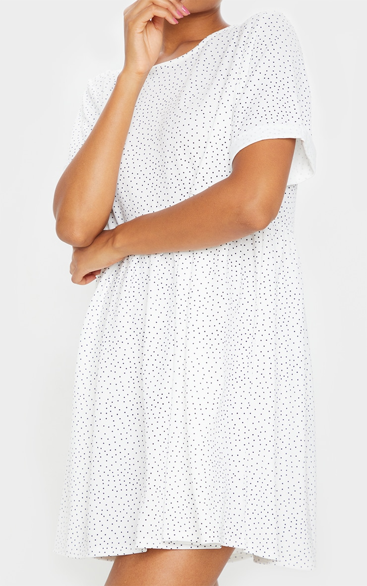 White Polka Dot Roll Sleeve Smock Dress 4